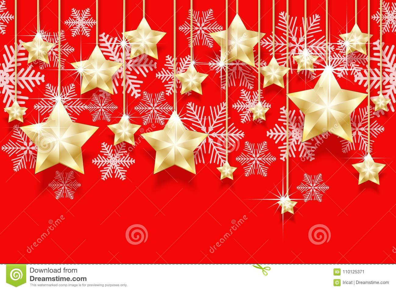 christmas seamless horizontal pattern with hanging gold stars and snowflakes bright new years border for