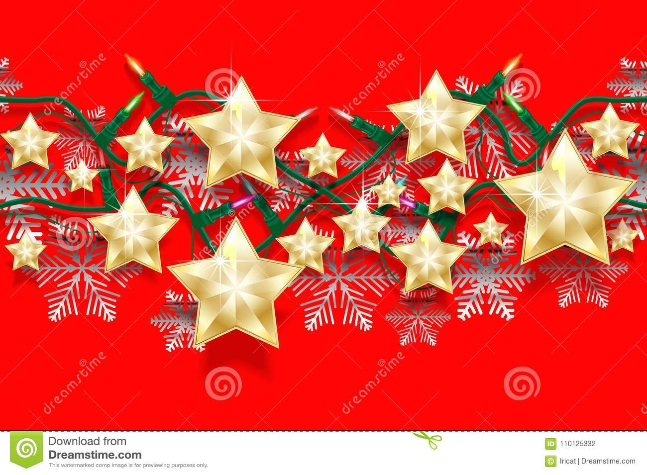 christmas seamless horizontal pattern of stars snowflakes and garlands with light bulbs bright new