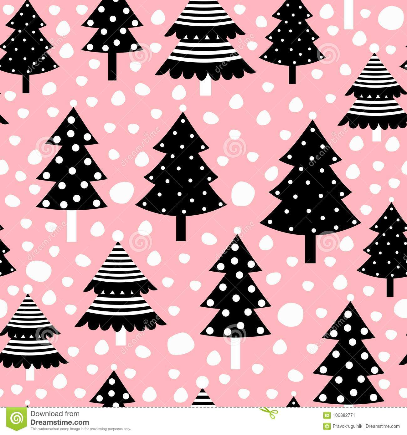 Christmas Seamless Pattern With Black Trees On Pink Background Stock Vector Illustration Of Paper Pattern 106882771