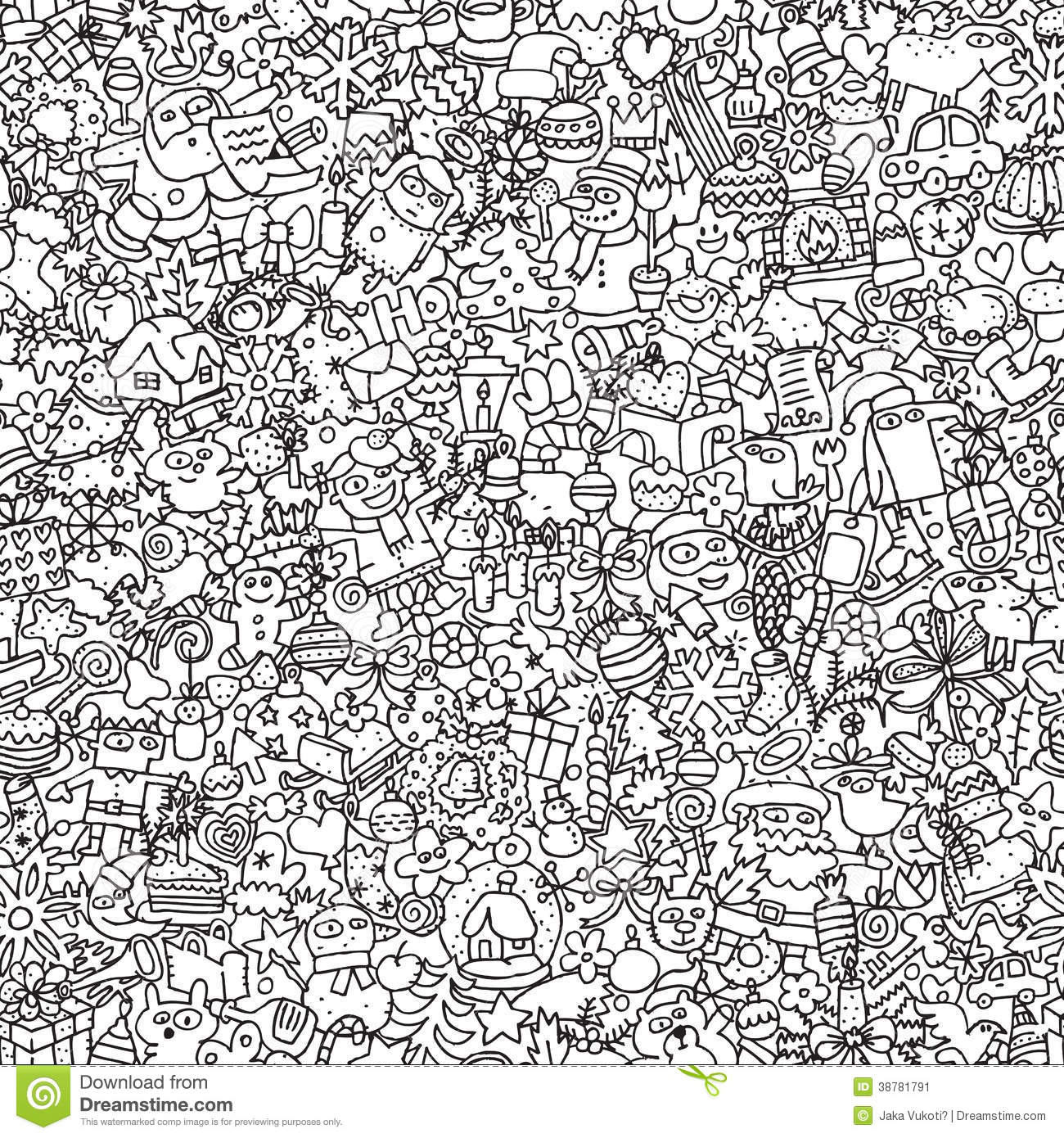 Christmas Coloring Page For Adults Whole Page