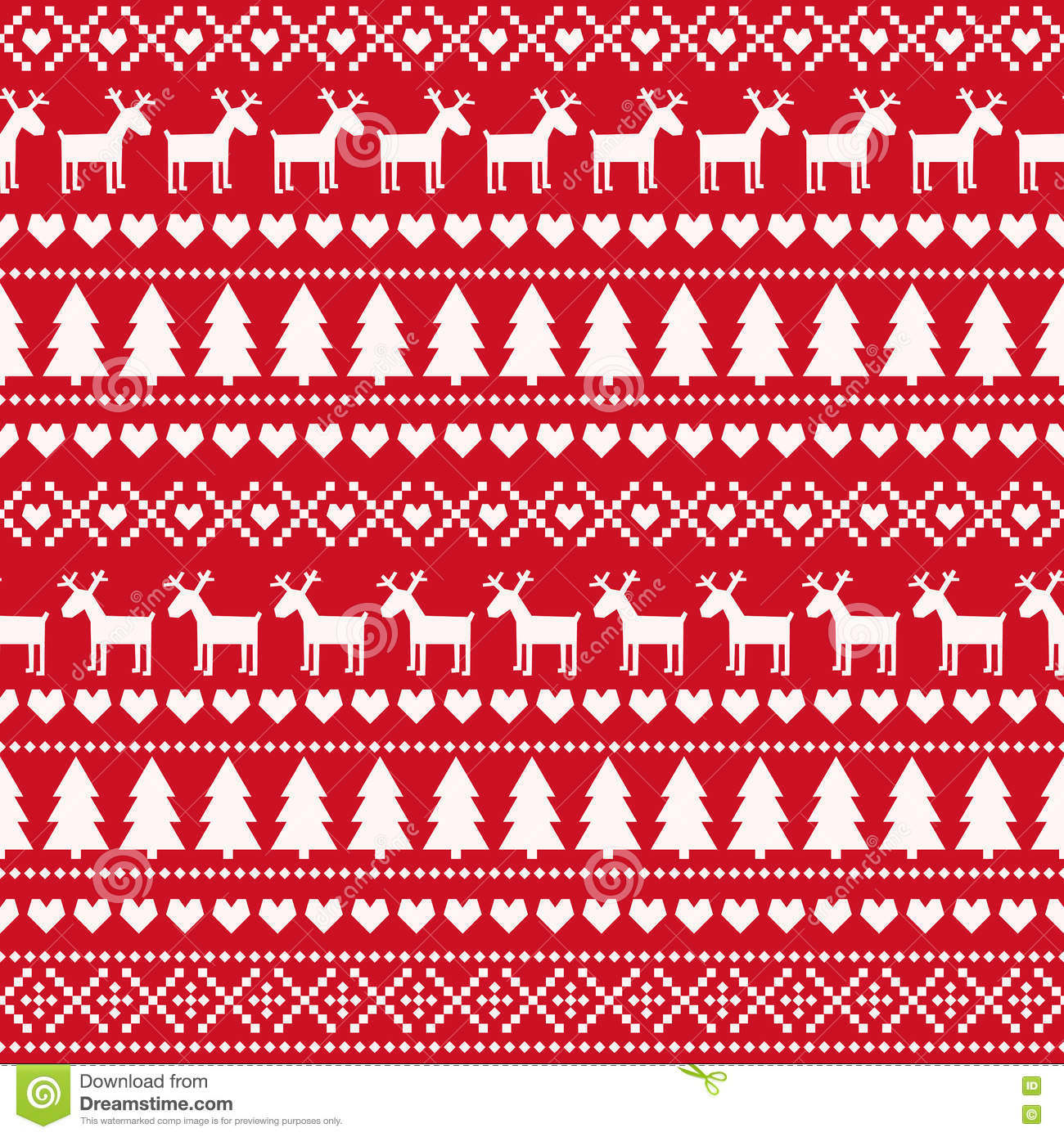 Christmas Seamless Pattern, Card - Scandinavian Sweater ...