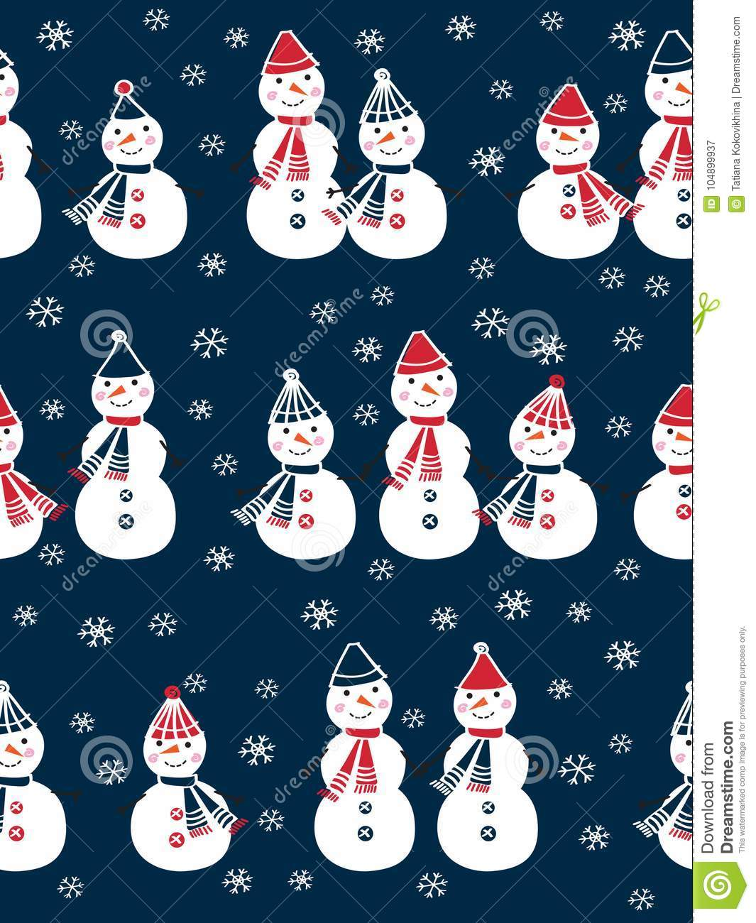 christmas seamless pattern with cute snowmen and snowflakes for gift wrap textile wallpapers and scrapbook happy new year 2018 doodles sketch for your