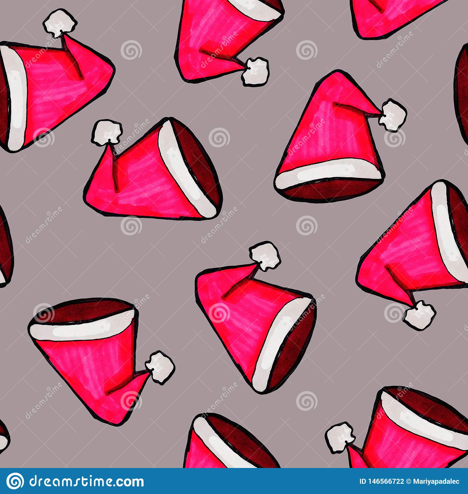 Christmas seamless pattern drawn by hand. Red Santa Claus hat on a grey background. Happy New Year