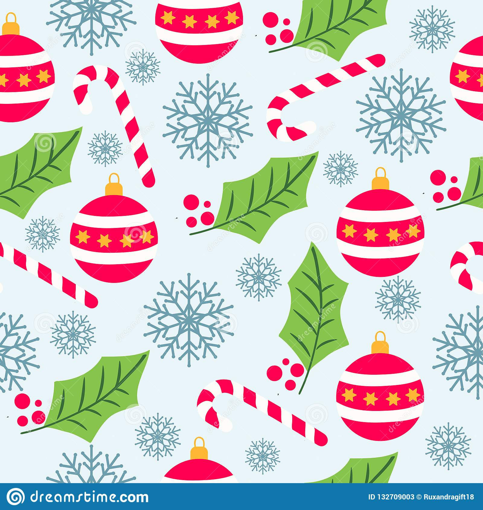 Christmas seamless pattern with Christmas globes, candy canes