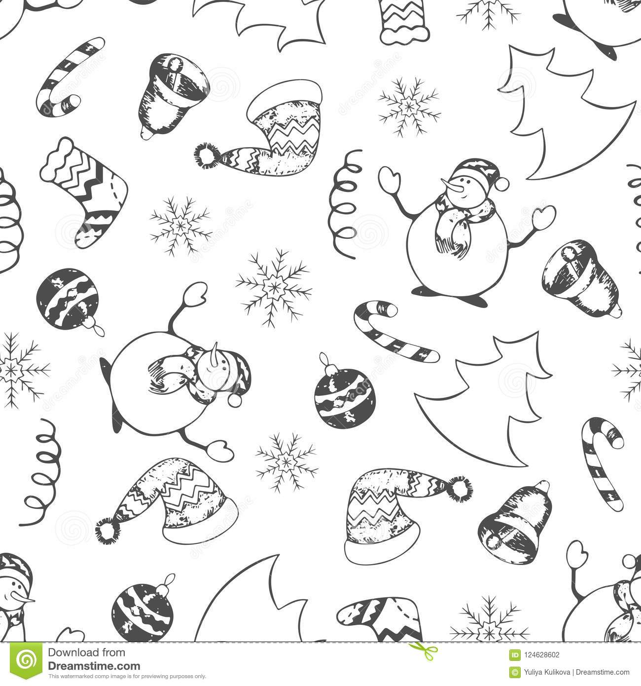 Christmas Boots Drawing.Christmas Seamless Pattern Hand Drawing Stock Vector