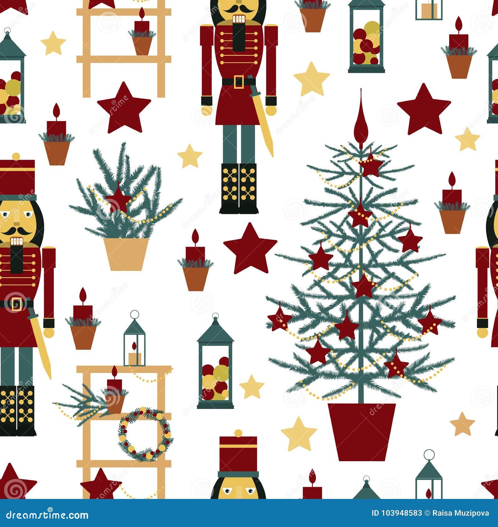Nutcracker Christmas Tree Clipart.Christmas Seamless Pattern With Nutcracker Stock Vector