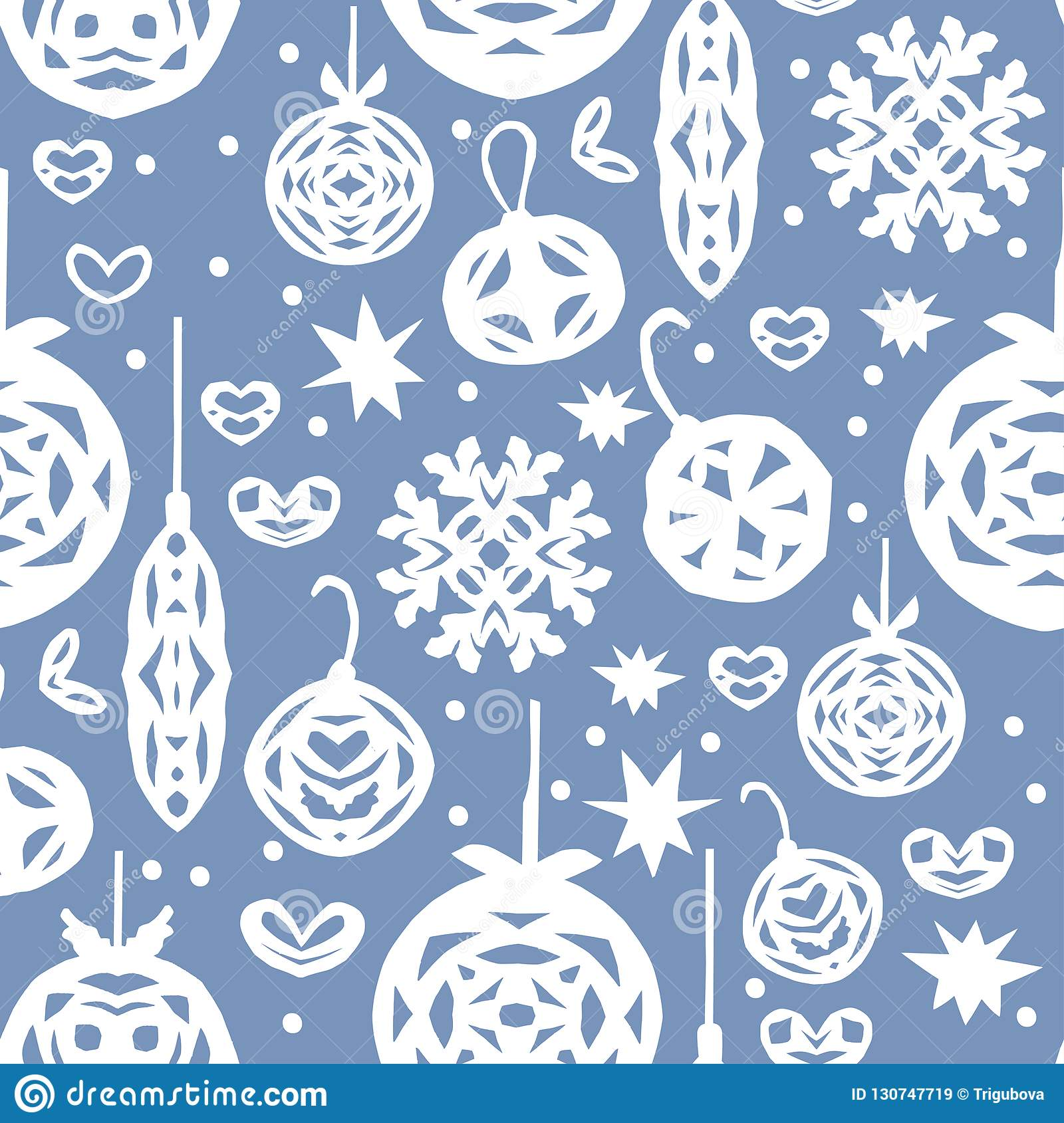 Christmas Seamless Pattern Paper Craft Design Stock Vector