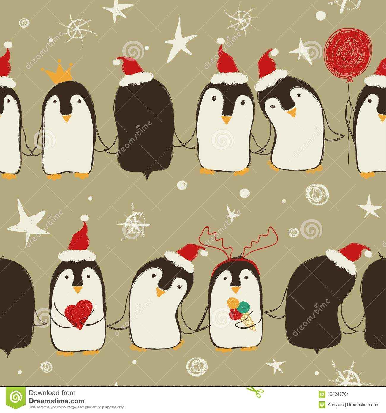 Christmas Seamless Pattern Of Penguins.
