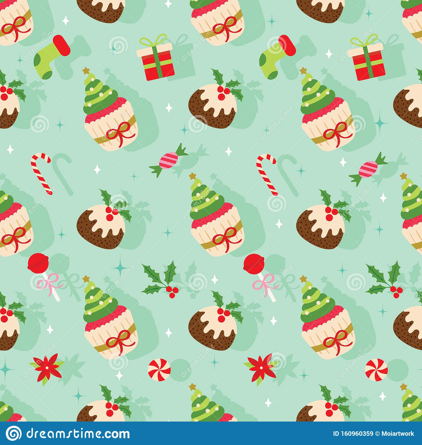 christmas seamless pattern pudding cupcake taffy candy cane socks gift etc%E2%80%A6 shadow background cute holiday vector 160960359