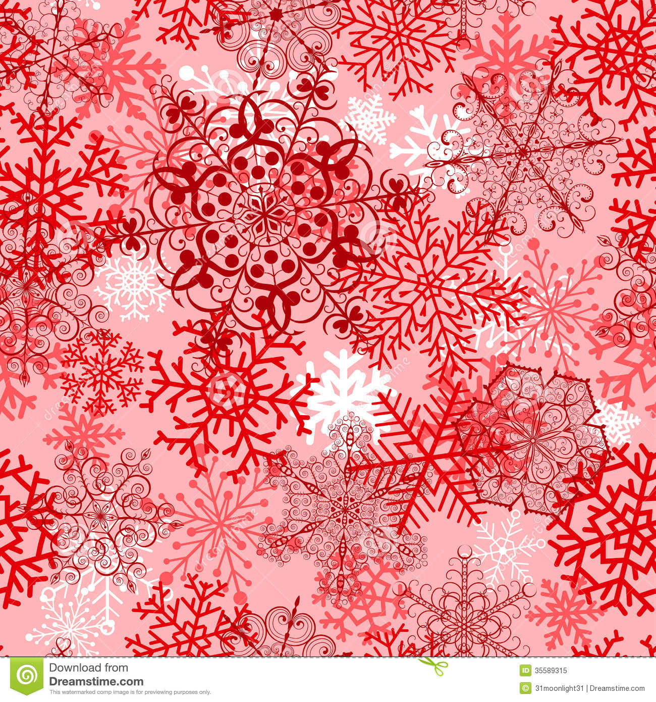 Christmas seamless pattern with red snowflakes stock