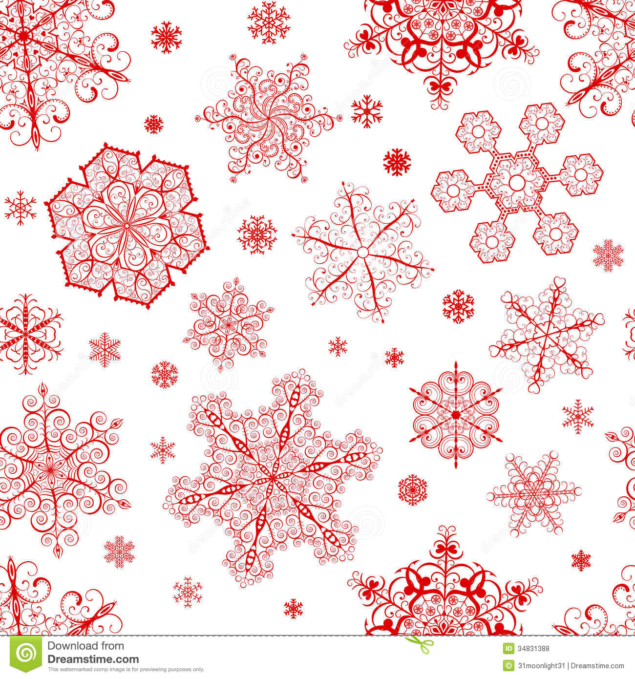 Christmas seamless pattern from big and small red snowflakes on white ...