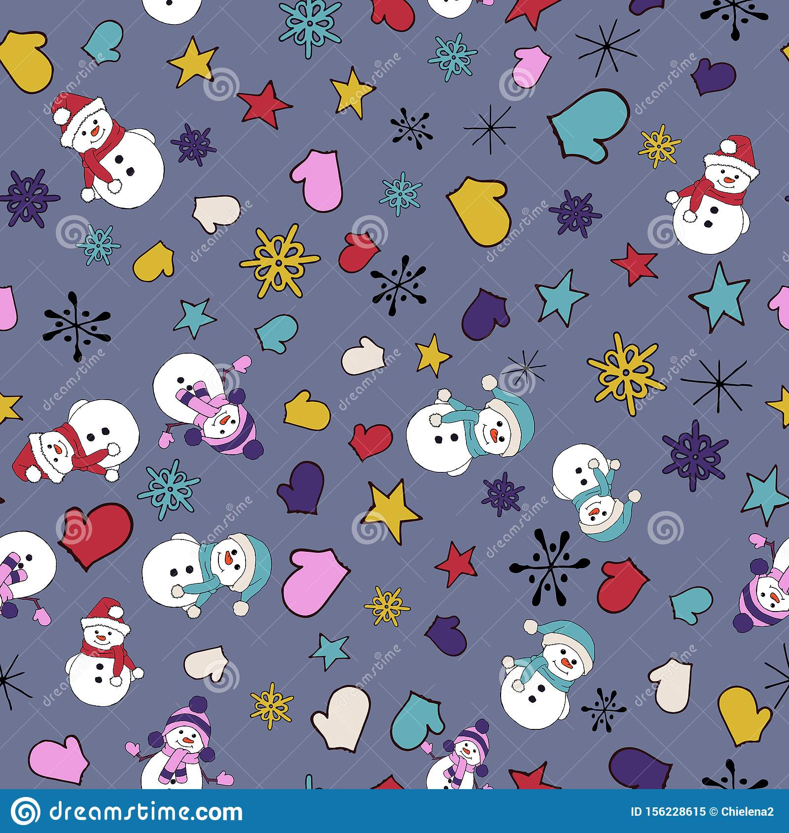 Christmas seamless pattern with snowman, fir trees and snowflakes. Perfect for wallpaper, wrapping paper, pattern fills