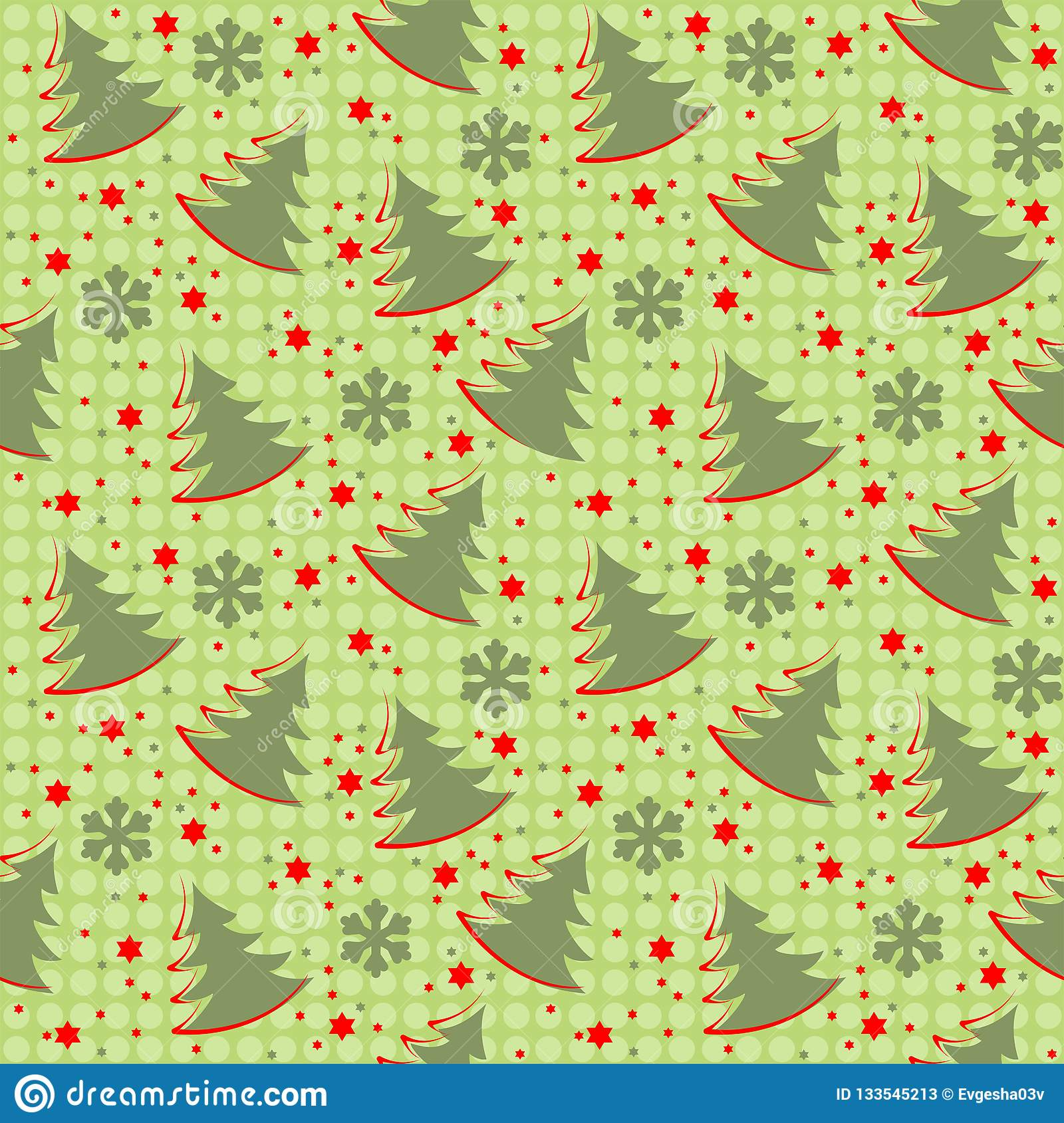 Winter Christmas seamless pattern on a green background
