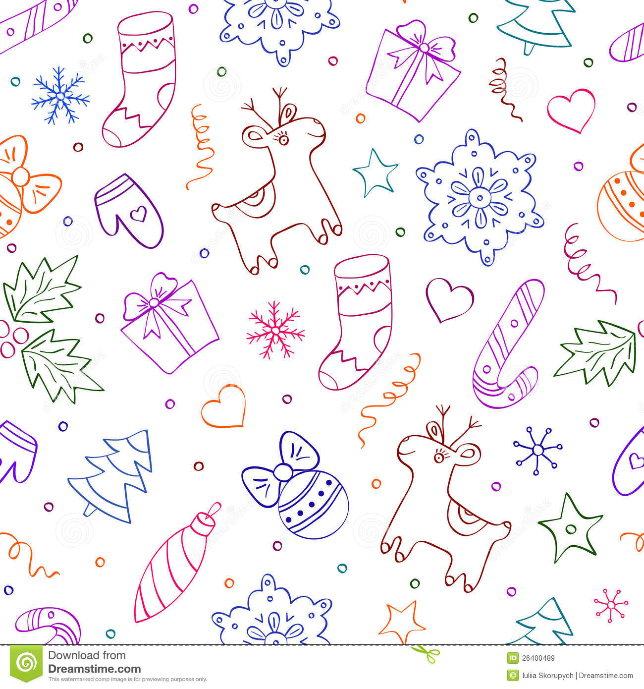 Illustration of christmas seamless pattern with differents elements on ...