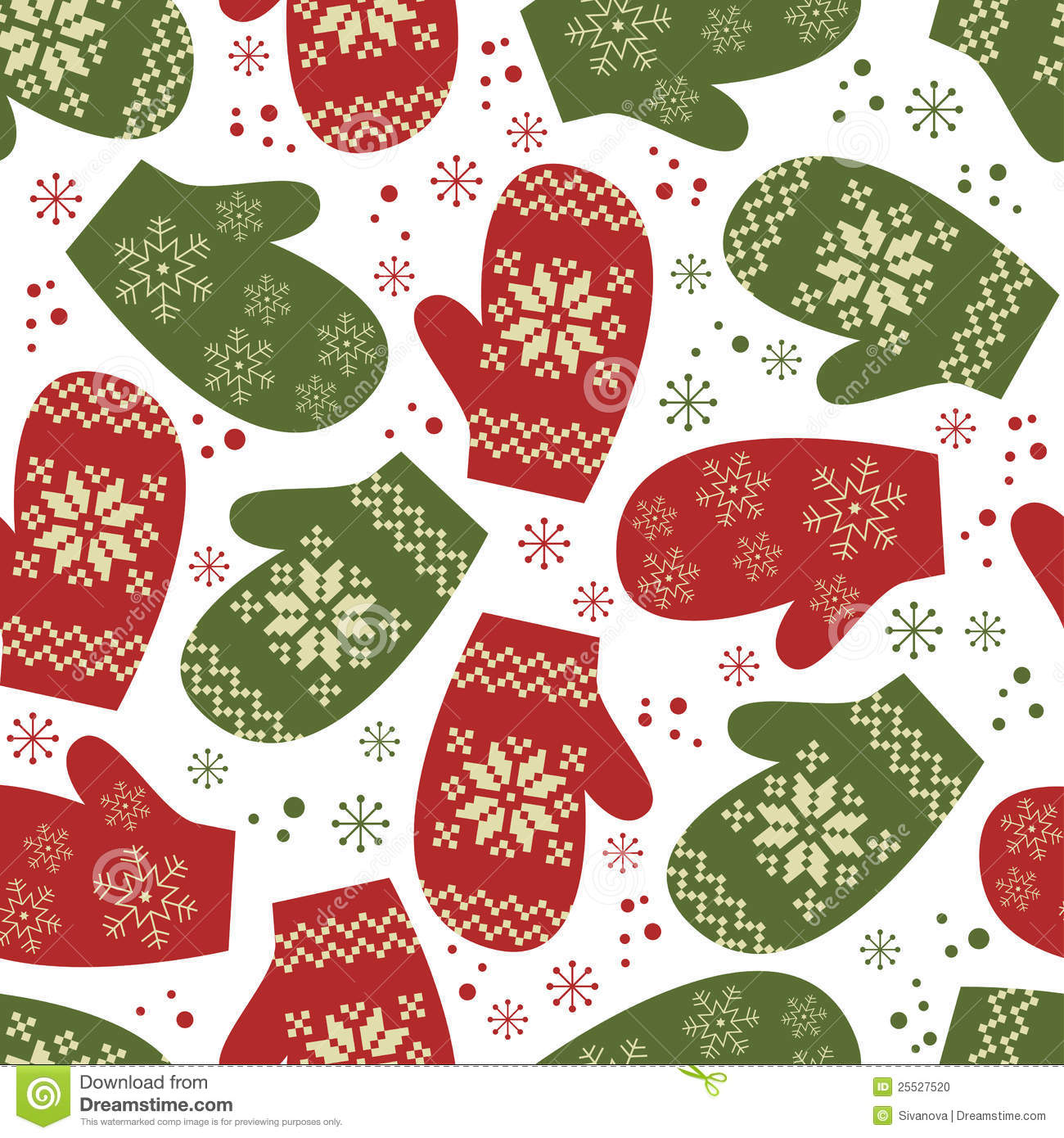 Christmas seamless pattern with winter mittens stock photo image