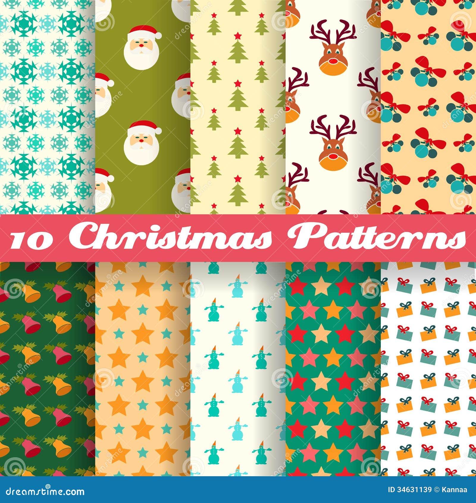 Christmas Seamless Patterns (tiling)  Vector Stock Vector