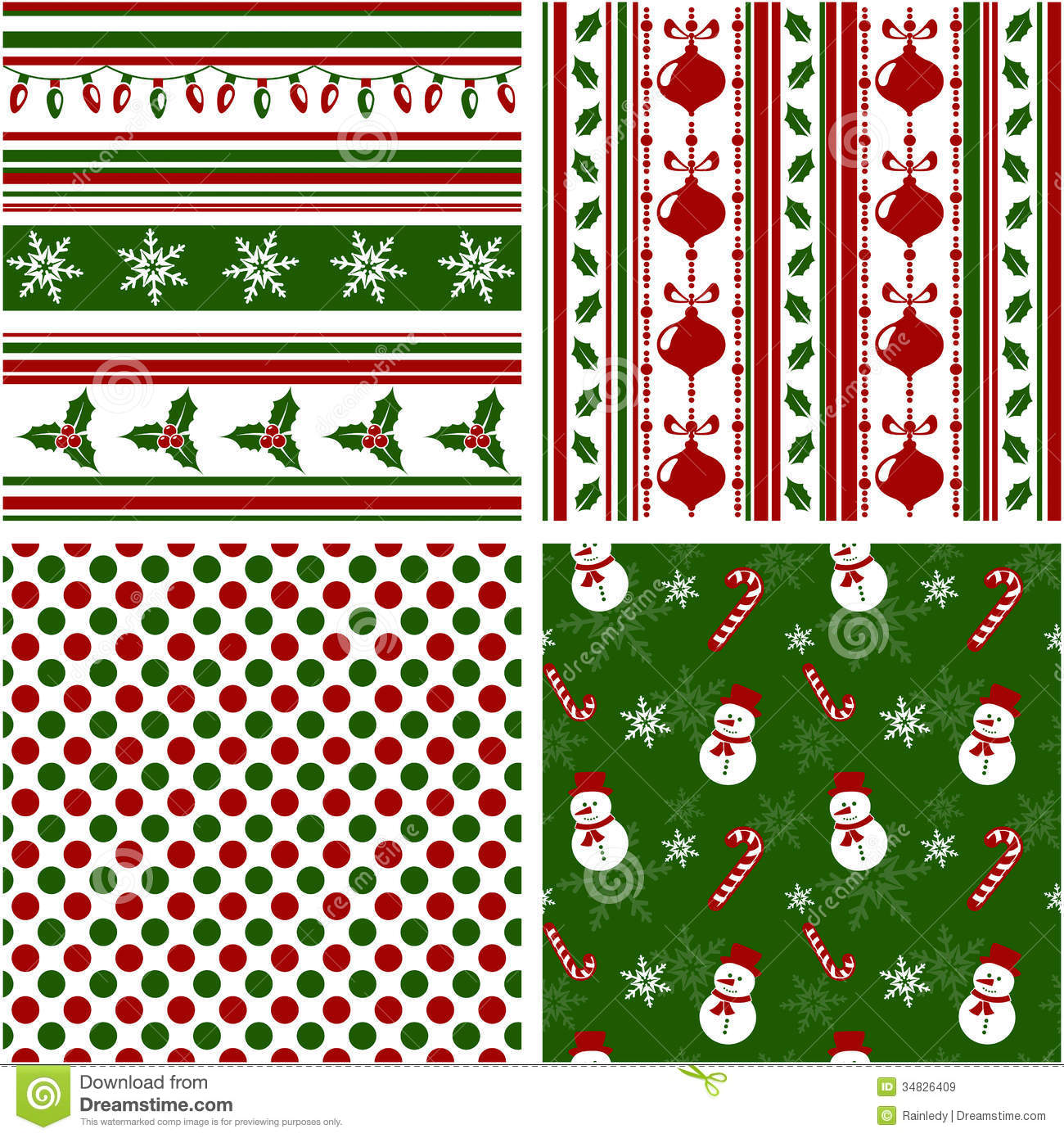 Set of seamless christmas patterns free vector in adobe.