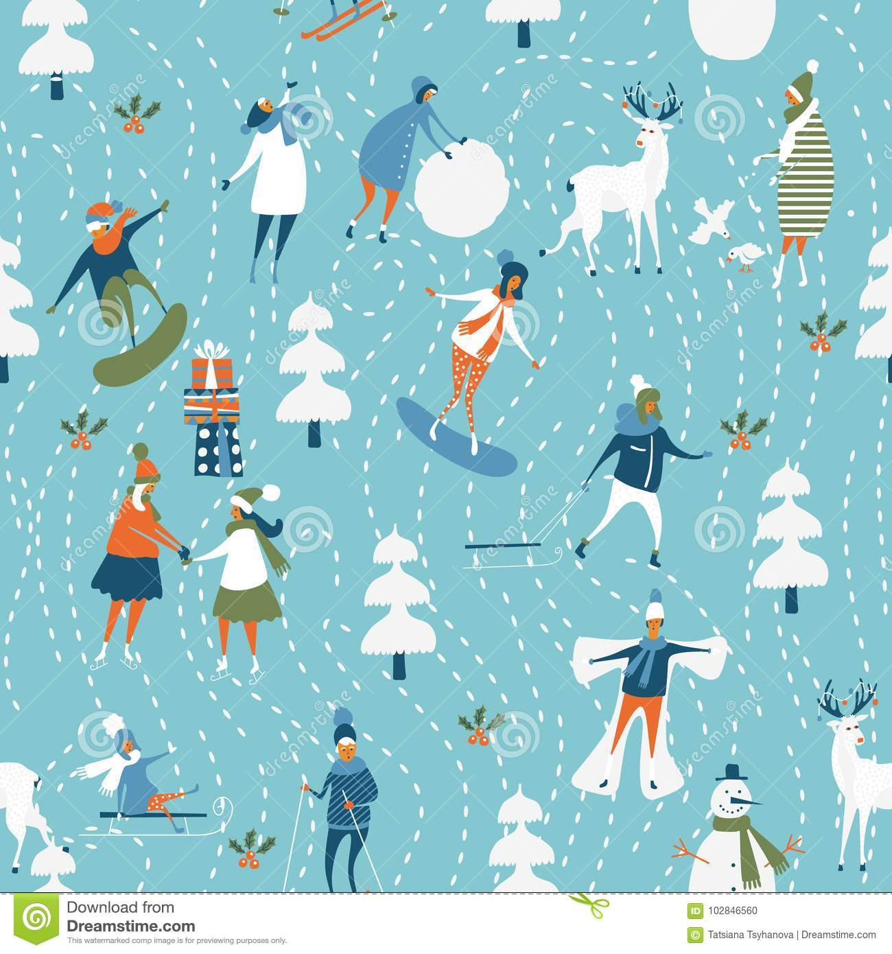 Christmas Seamless Vector Pattern Holiday Template For