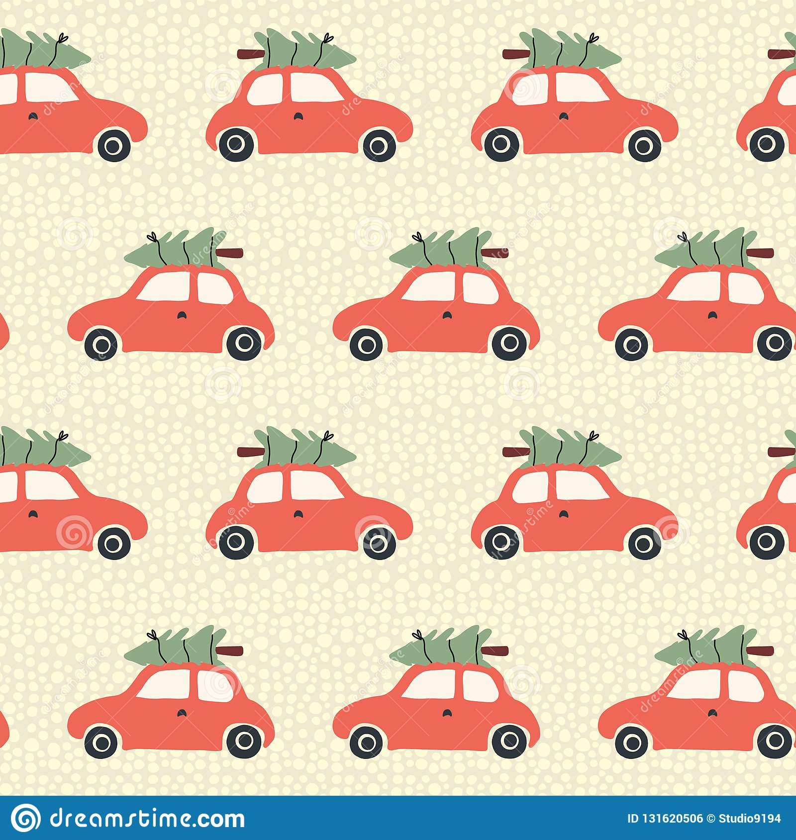 Christmas seamless Vector pattern with red car and christmas tree on the roof. Vintage holiday background with retro cars and