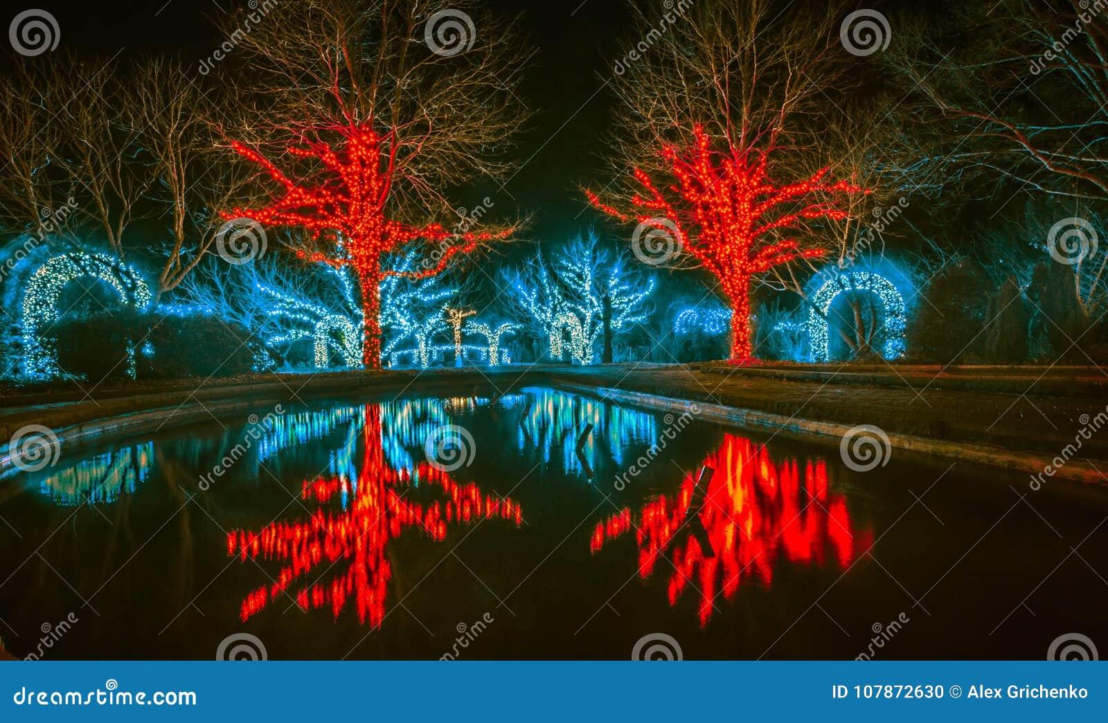 Christmas season lights and decorations at daniel stowe gardens