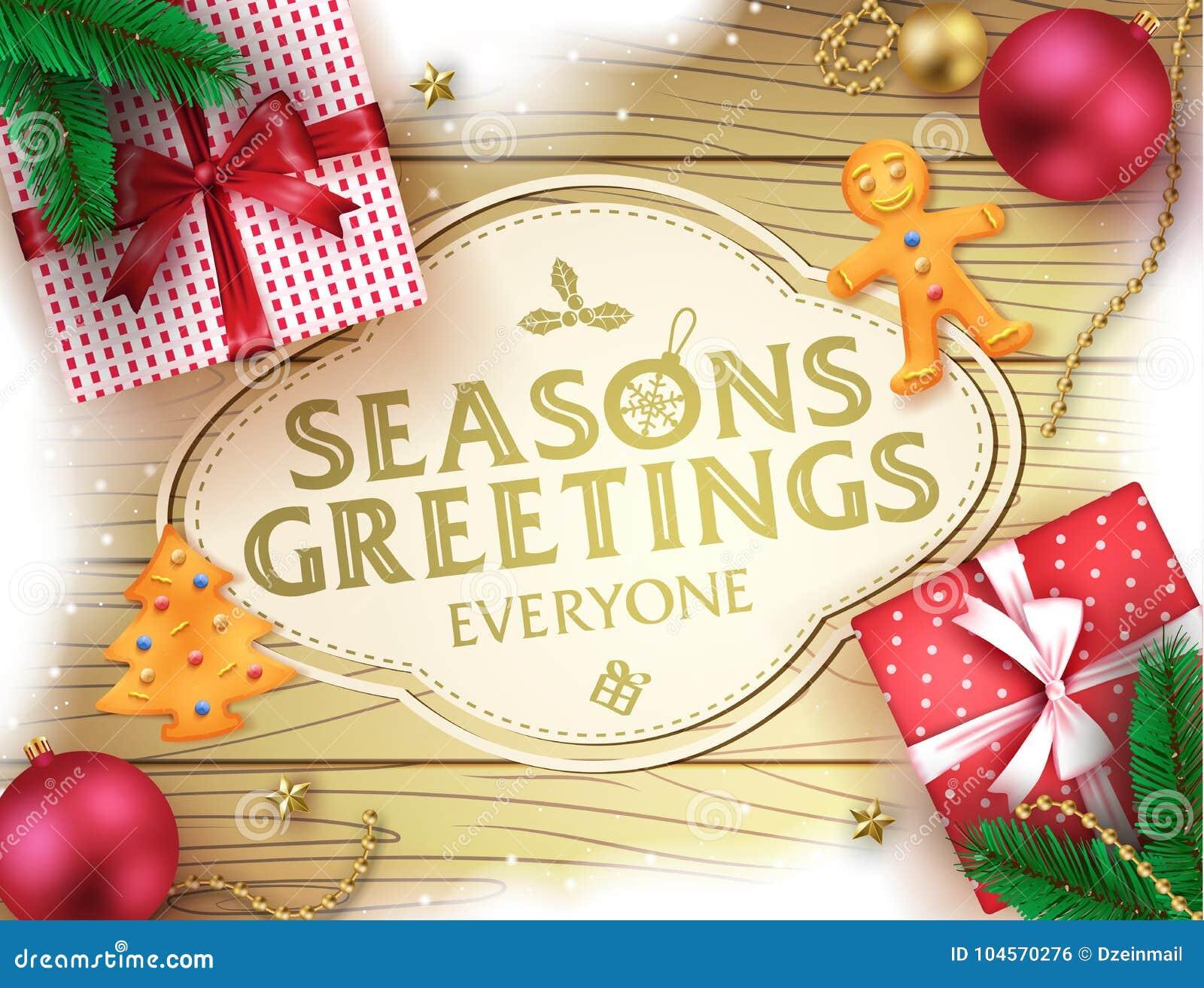 Christmas Seasons Greetings Decorative Greeting Poster In Brown
