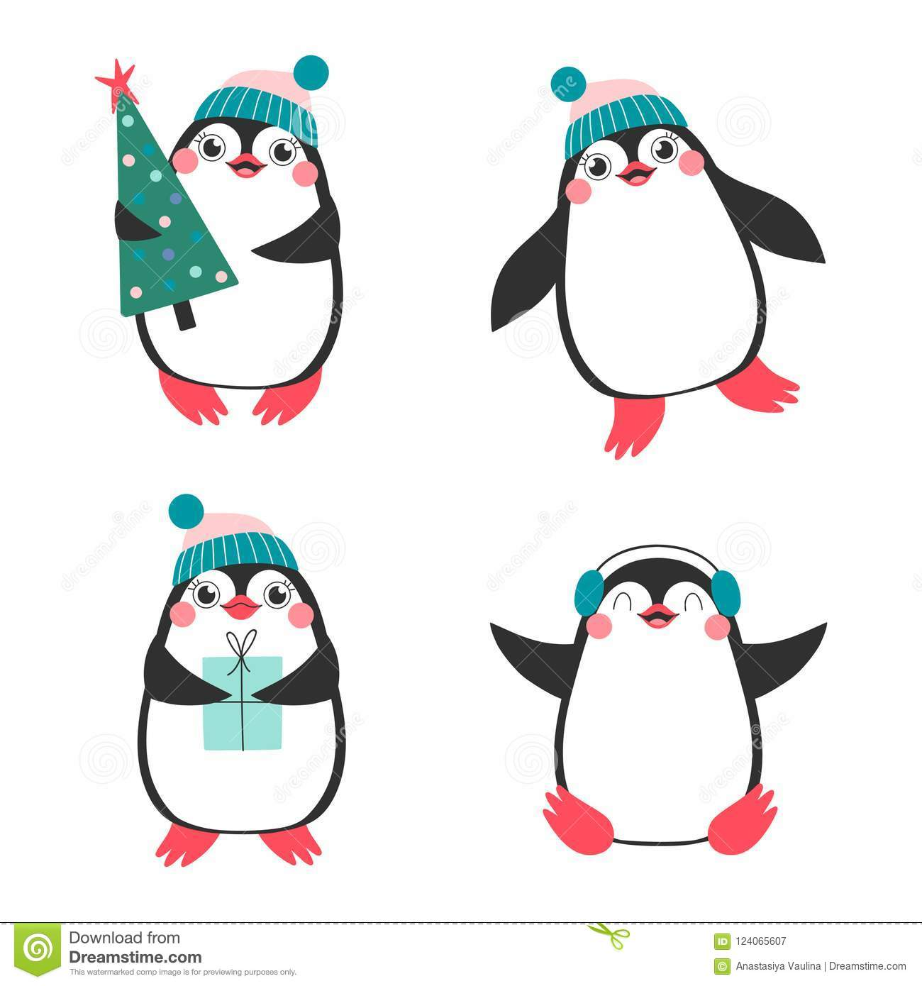 Christmas set with cute penguins.