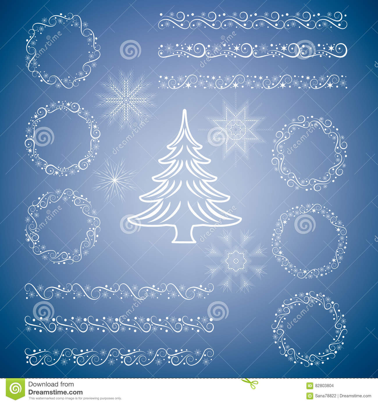 Christmas Set Of Design Elements Templates Tags Snowflakes