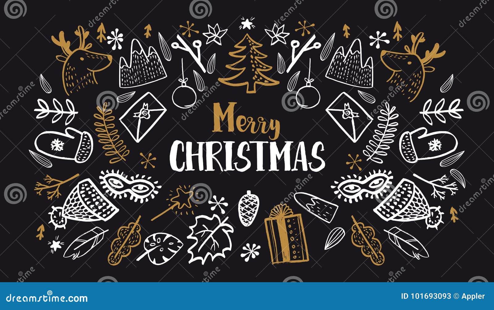 Christmas Set Hand Drawn Style On Black Stock Vector Illustration