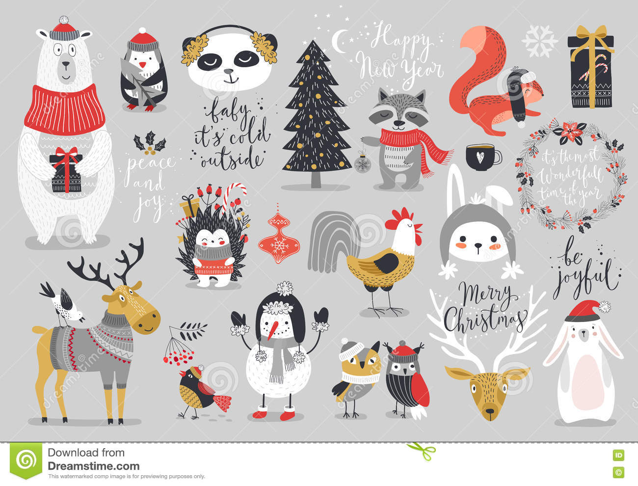 Christmas Set, Hand Drawn Style - Calligraphy, Animals And Other ...