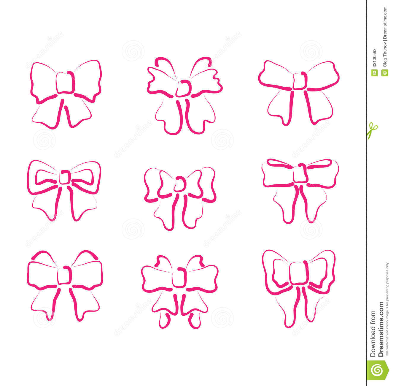 Christmas Set Outline Gift Bows Isolated Stock Photos - Image ...