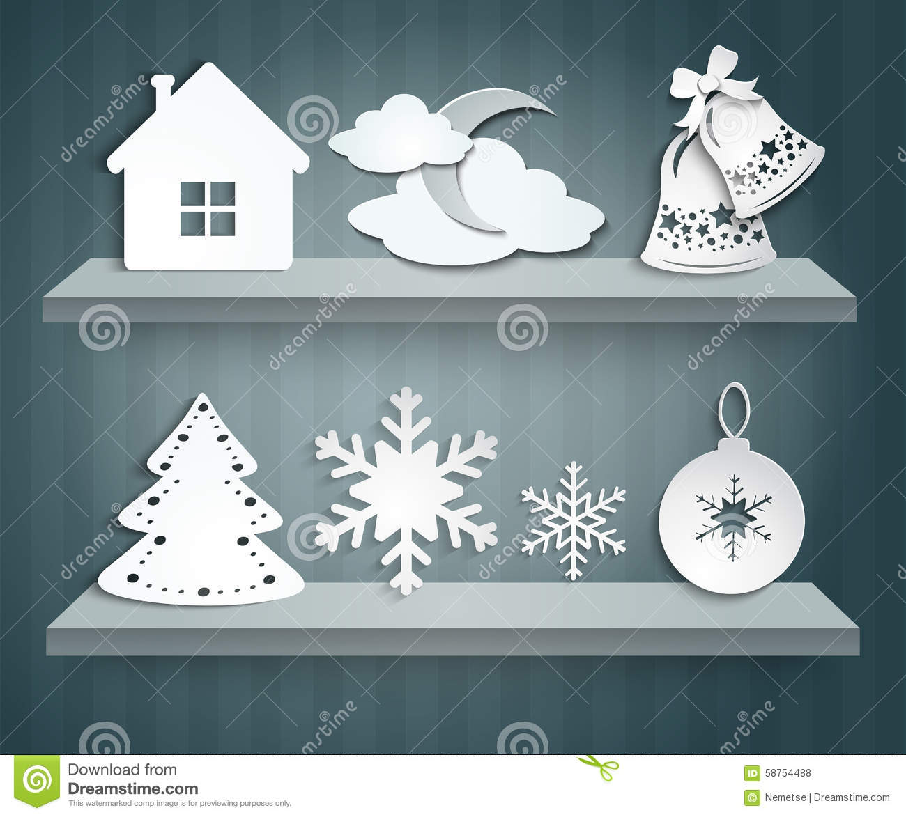 Paper Decorations Christmas Christmas Set Of Paper Decorations Stock Vector Image 58754488