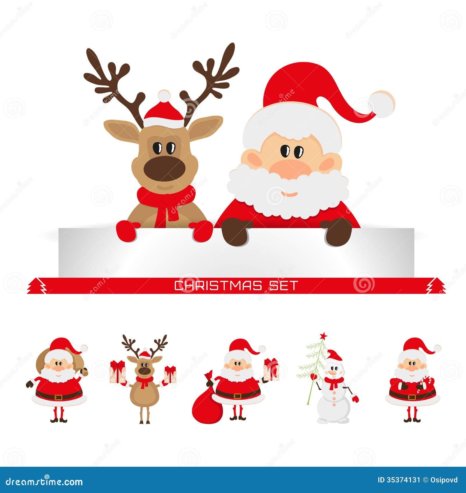 Christmas Set Santa Claus Reindeer Snowman Stock Image