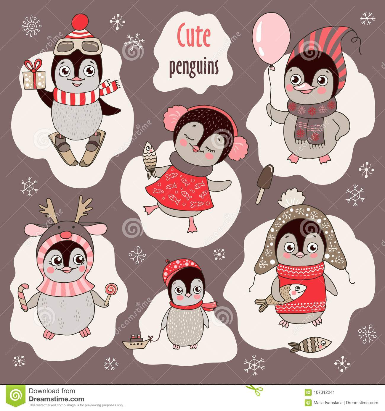 Christmas set with six cute penguins and snowflakes