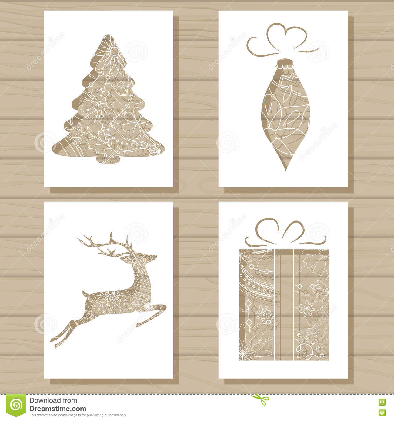 christmas set of stencil templates on wooden background stock