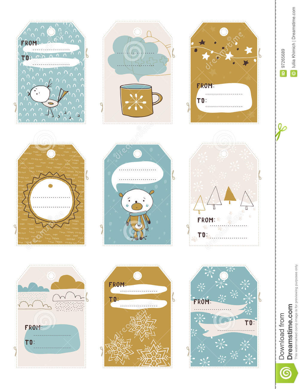 photograph regarding Gift Tag Template Printable known as Xmas fixed of tags inventory vector. Instance of