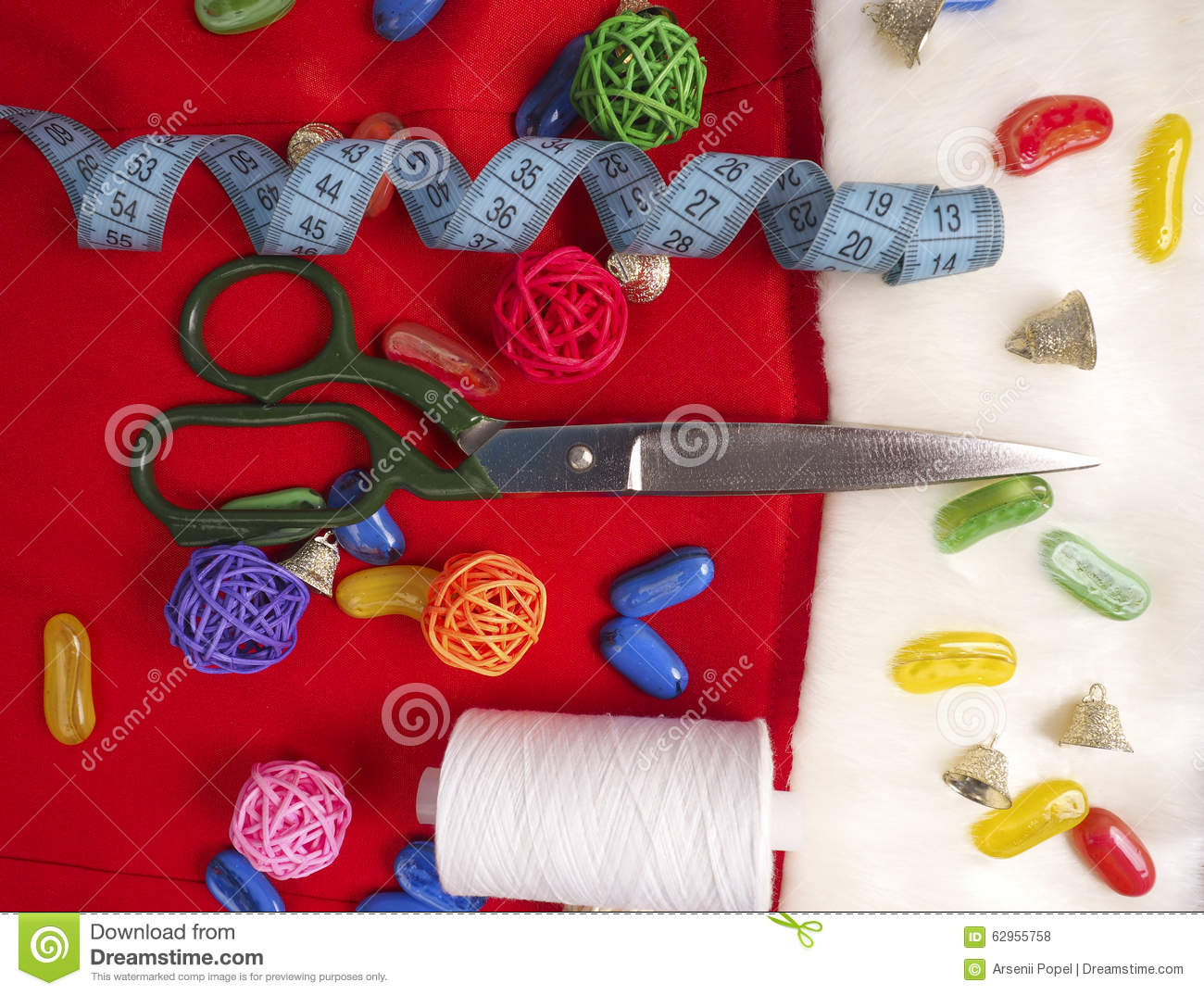 Christmas sewing still life includes fabric and craft for Sewing and craft supplies