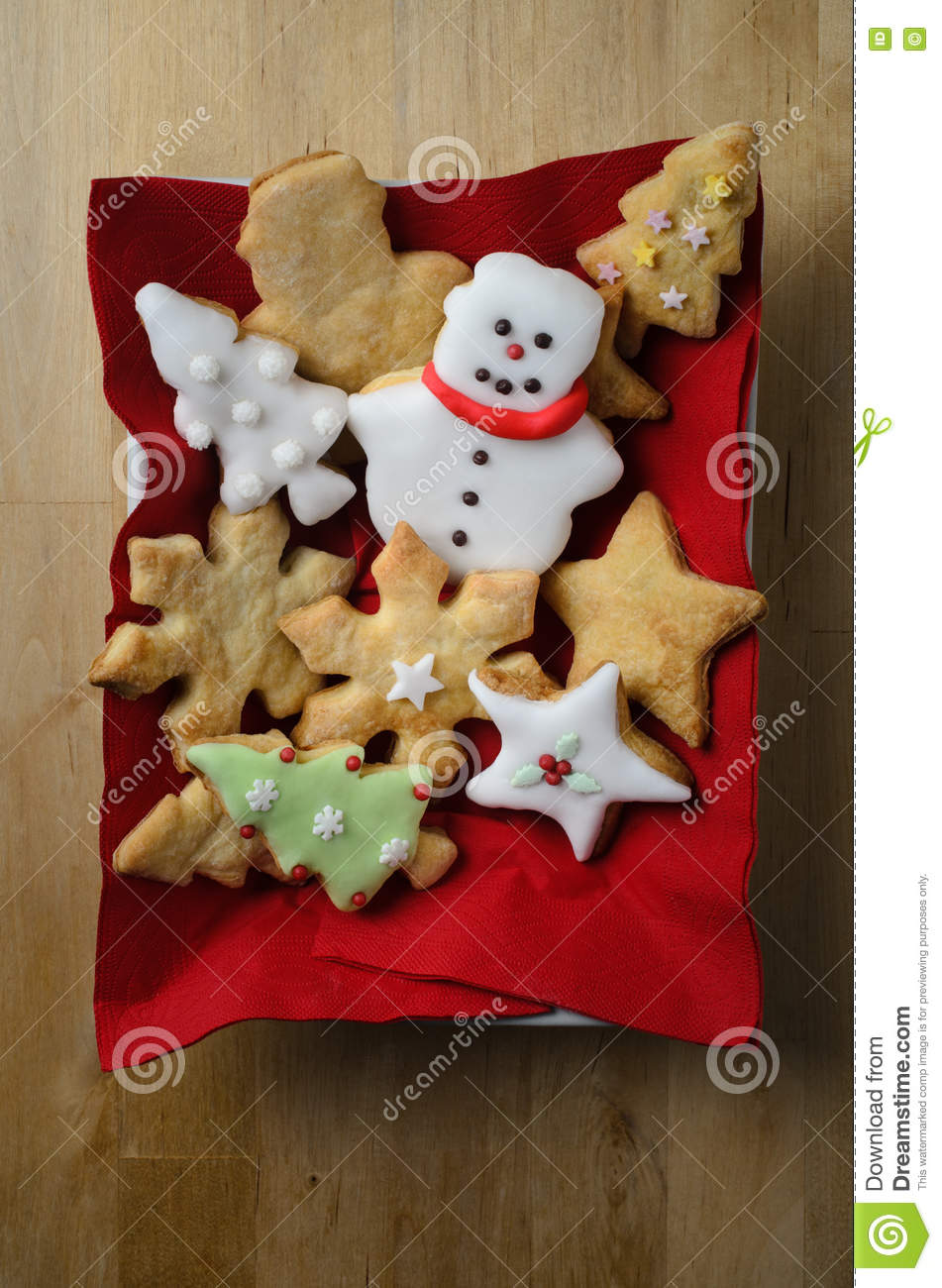 Christmas Shaped Biscuit Selection From Above Stock Photo Image Of