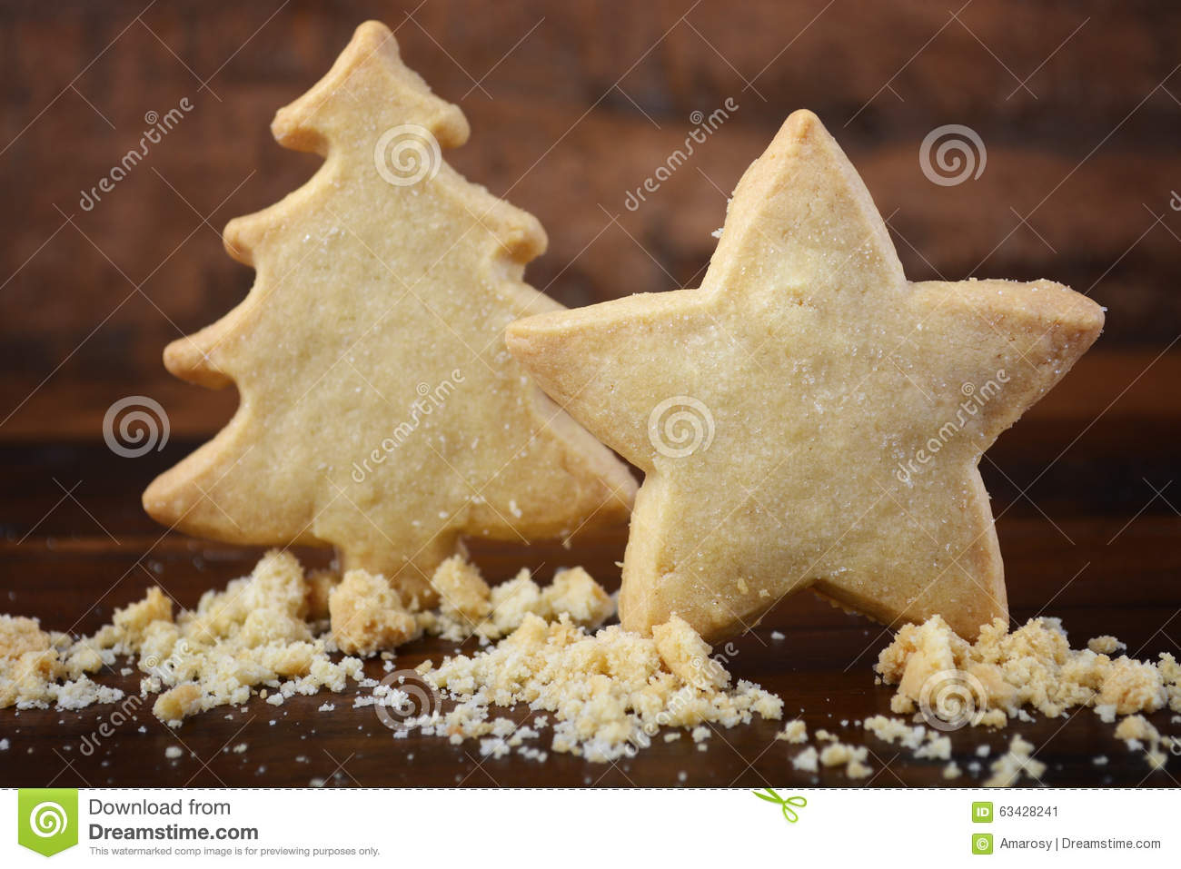Christmas Shapes Shortbread Cookies Stock Image Image Of Baked