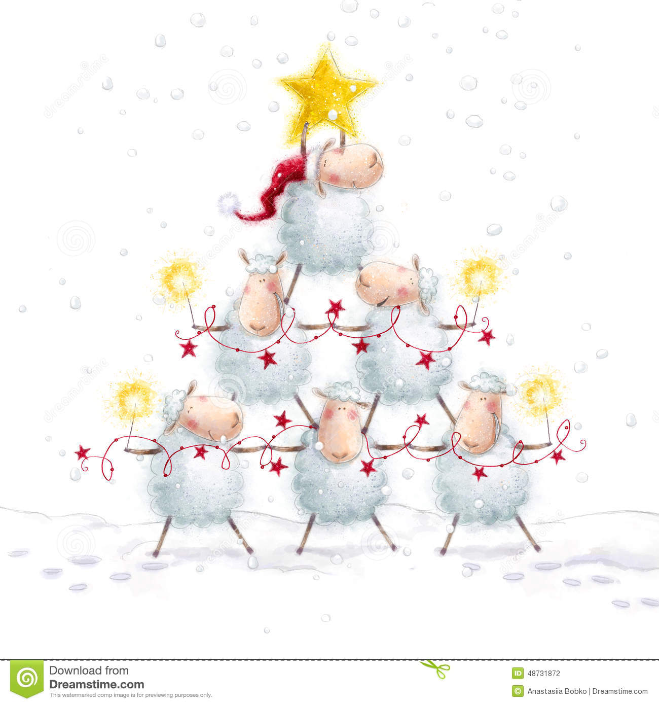 christmas sheep christmas tree with star made of cute sheep new year