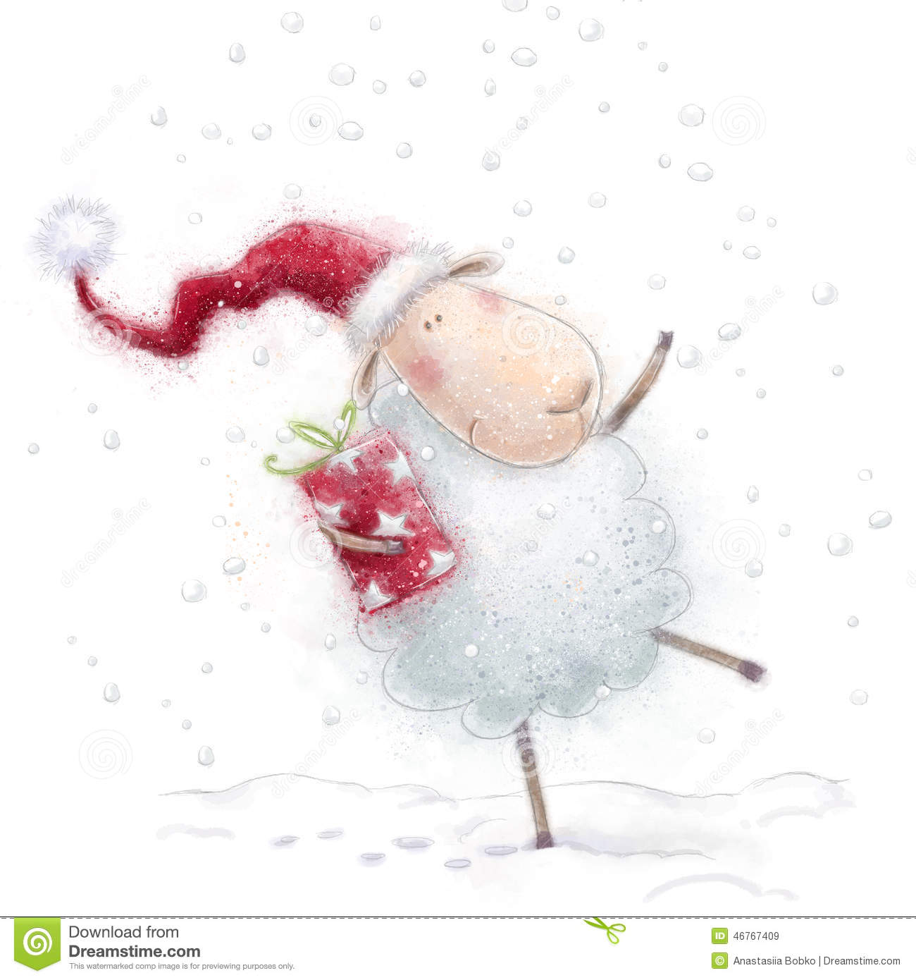 Christmas sheep.Cute sheep with the gift in Santa hat on snow background. Christmas greeting card. Happy New Year.