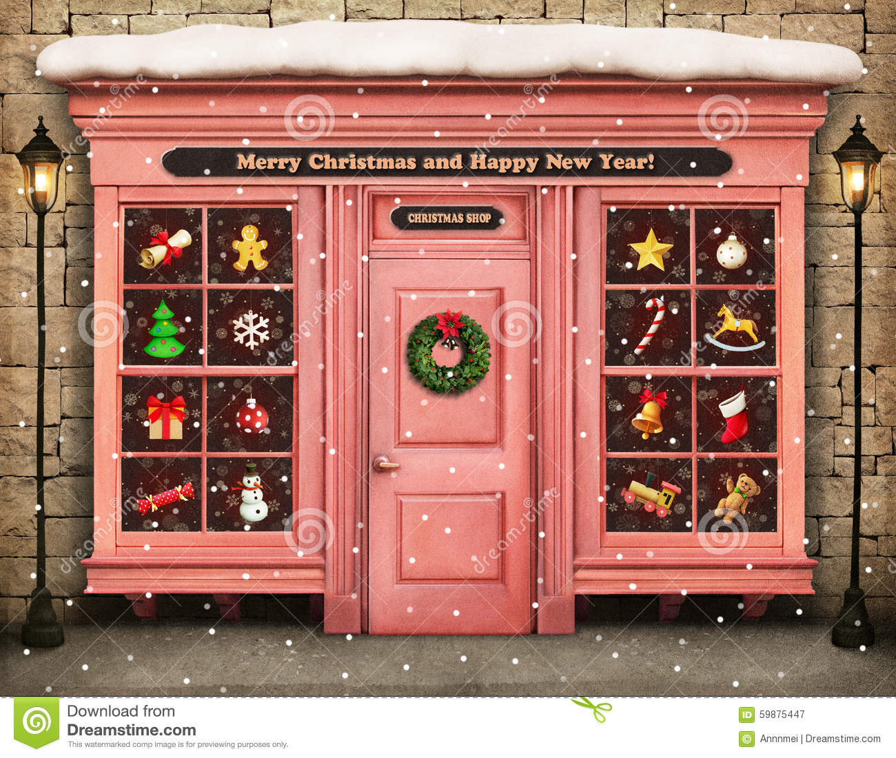 Christmas Shop Stock Image. Image Of Gift, Celebration