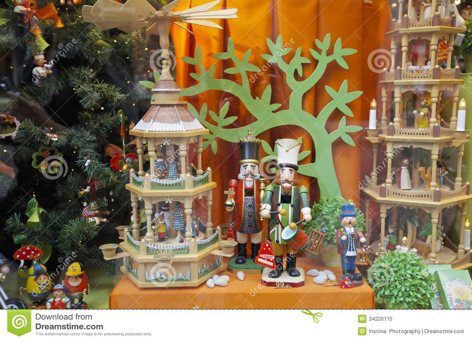 Christmas store window decorations - Christmas Shop Window Royalty Free Stock Photo