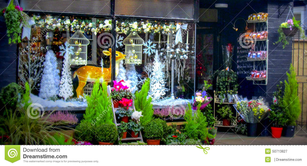 Christmas shop window in ludlow stock photo image 50713827 for Shop xmas decorations