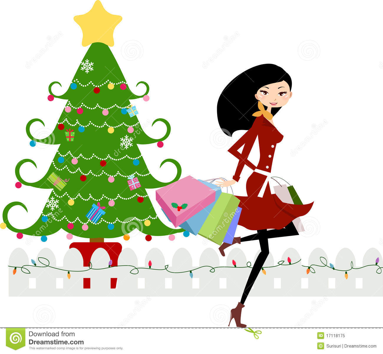 Christmas Shopping Stock Vector Illustration Of Happy 17118175