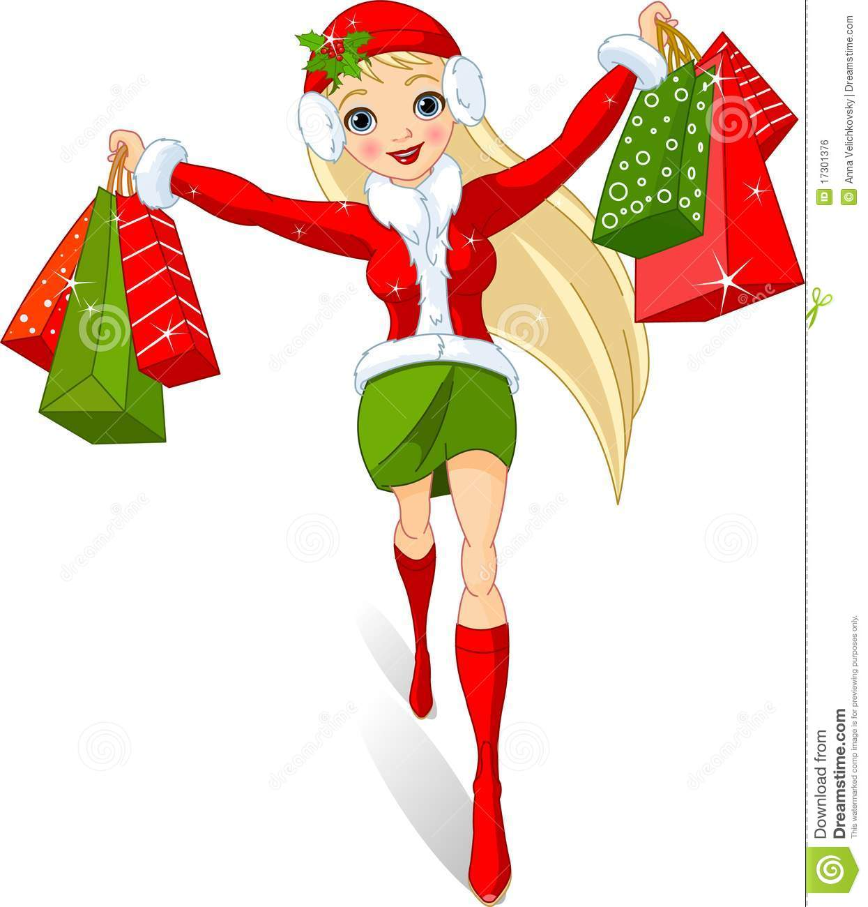 Christmas shopping. Illustration of a girl with shopping bags. Beautiful Fairy Pictures