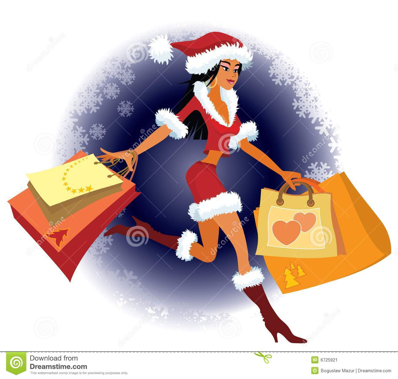 Christmas Shopping Stock Vector Illustration Of People 6725921