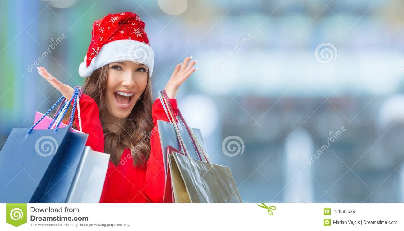 Christmas Shopping Attractive Happy Girl With Credit Card And S Stock Image Image Of Credit Center 104683529