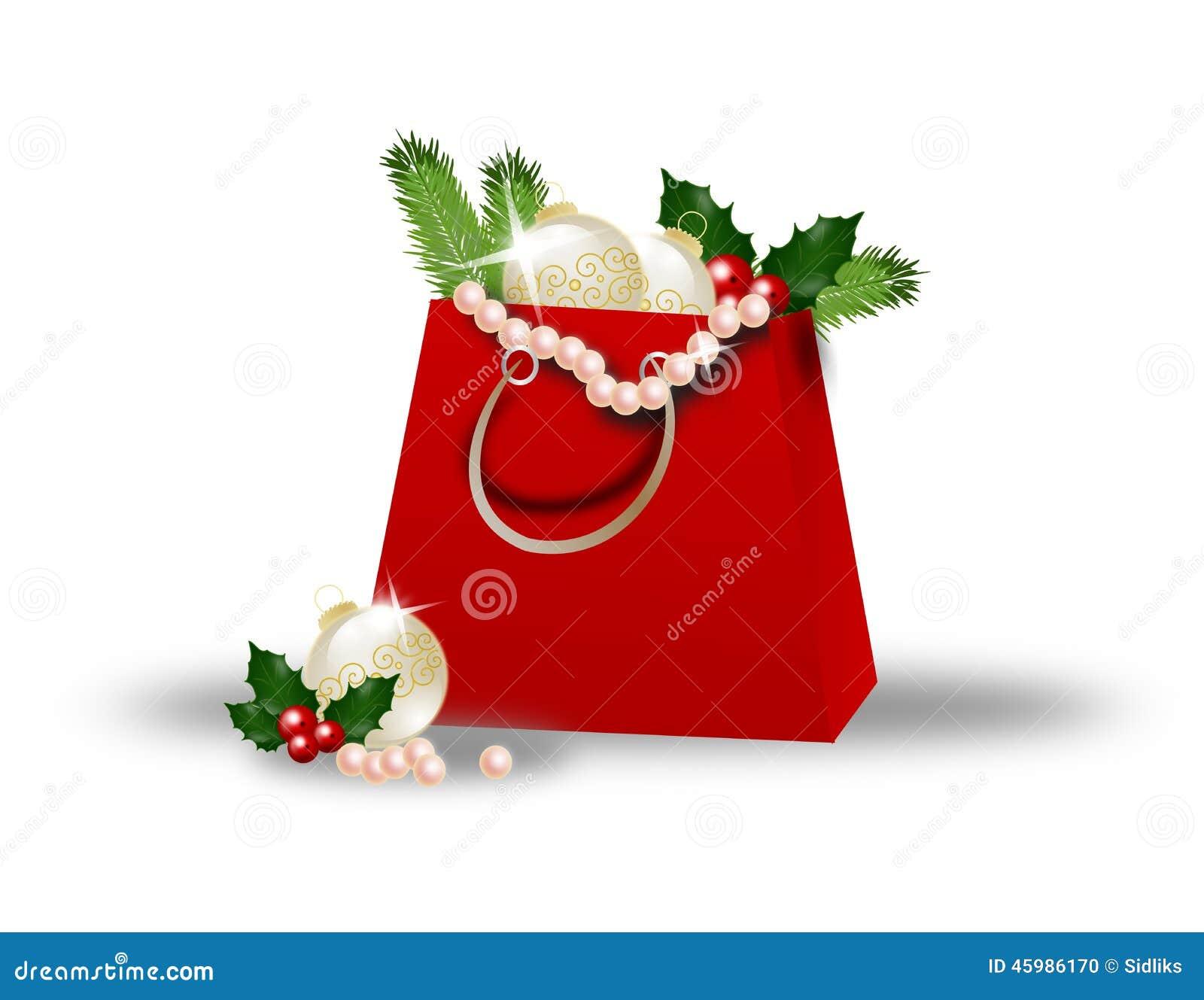 Christmas shopping bag stock illustration image 45986170 for Christmas decorations online shopping
