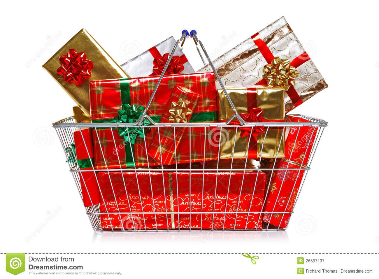 Christmas shopping basket stock image of group