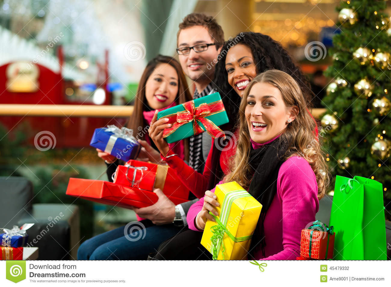 Black People Christmas Pictures.Christmas Shopping Friends In Mall Stock Photo Image Of